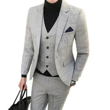 Jacket Pants Vest 3 pieces sets / 2018 fashion new men's casual boutique business grid suit suits Blazers trousers waistcoat