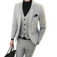 Jacket Pants Vest 3 pieces sets / 2018 fashion new men's casual boutique business grid suit suits Blazers trousers waistcoat