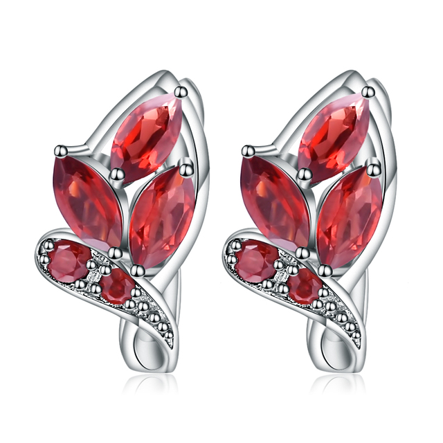 GEM'S BALLET 3.15Ct Natural Red Garnet Leaf shape Earrings 925 Sterling Silver Gemstone Stud Earrings For Women Fine Jewelry