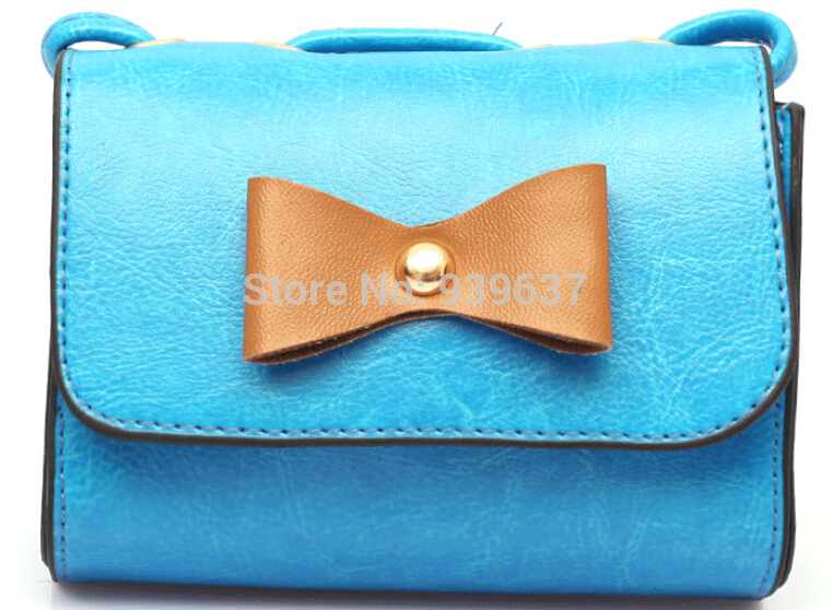 Free shipping 2015 new oil skin Bow camera bag mini candy color Clutch Messenger bag small