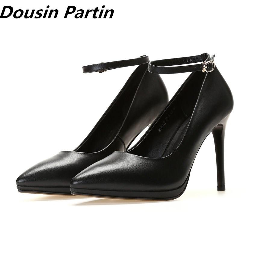Dousin Partin 黒シープスキンレザーハイヒールバックルポインテッドトゥの女性は靴女性 zapatos mujer 結婚式の靴  グループ上の 靴 からの レディースパンプス の中 1