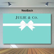 Neoback Tiffany blue Sweet backdrop Breakfast themed party Background for Photo personalize Bow Tie Party Photography Backdrops breakfast at tiffany s