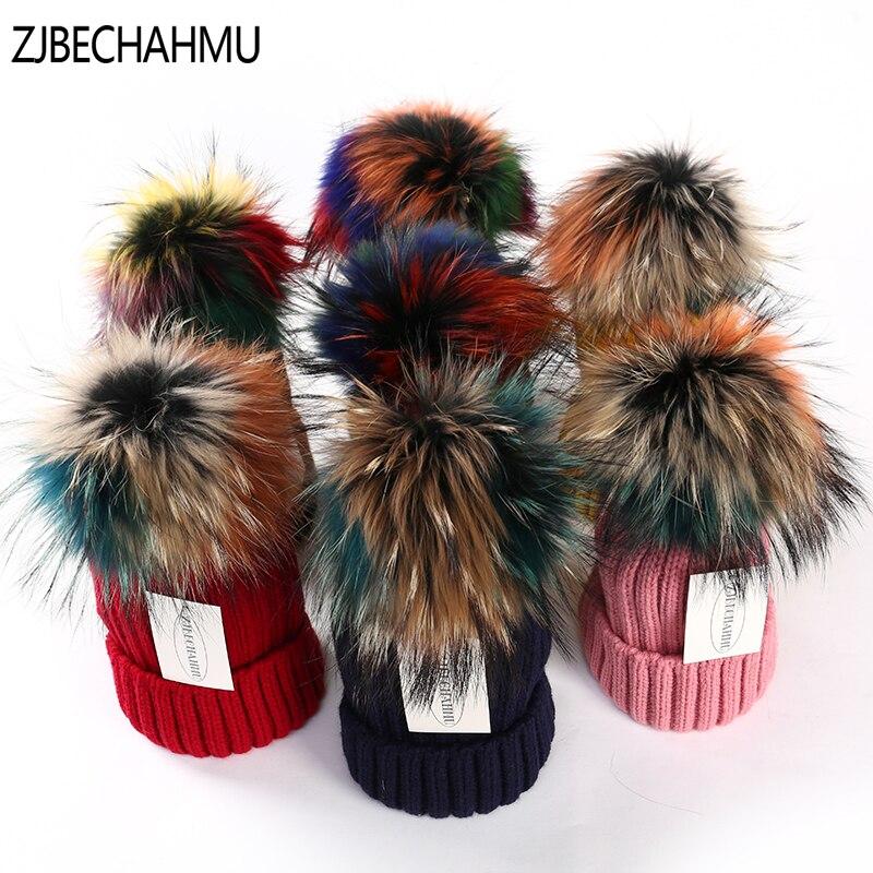ZJBECHAHMU Hüte Winter Echt Fox Fur Pompoms 15 cm Hut Warme Skullies Mützen Hut Caps Frauen Mädchen Mode Bunte Waschbären 2018 neue