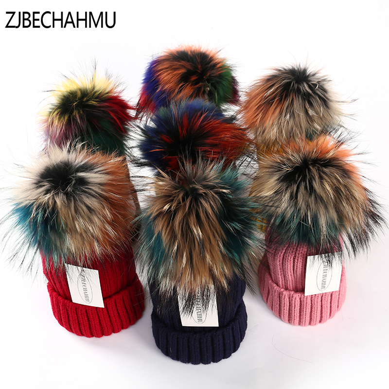 ZJBECHAHMU Hats Winter Real Fox Fur Pompoms 15cm Skullies Beanies Hat Caps Women Girl Fashion Colorful 2018 New Snapback Hat
