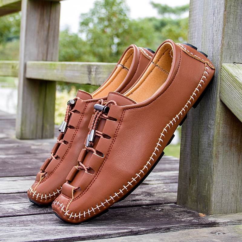 Мужская обувь из дышащей кожи  повседневная обувь на плоской подошве  модные мужские лоферы  легкие мокасины для вождения  лето 2019