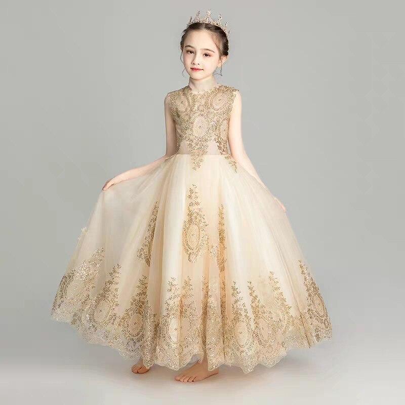 1ae2a7998656b Children Girls Luxury Birthday Wedding Party Tiered Princess Mesh ...
