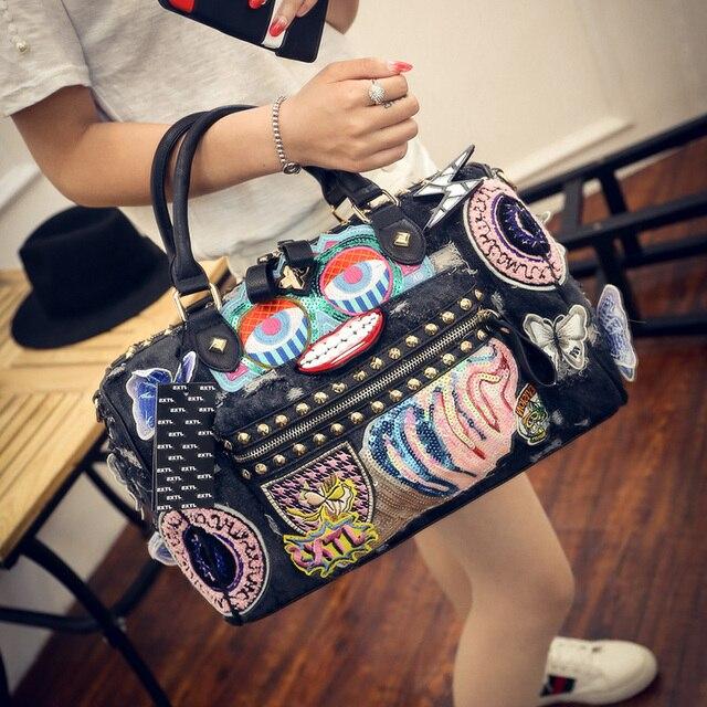 Rock Style Fashion Totes  Women Denim Handbags Casual Shoulder Bags Vintage Demin Blue Top Handle Bags Bolsa Large Travel Bags