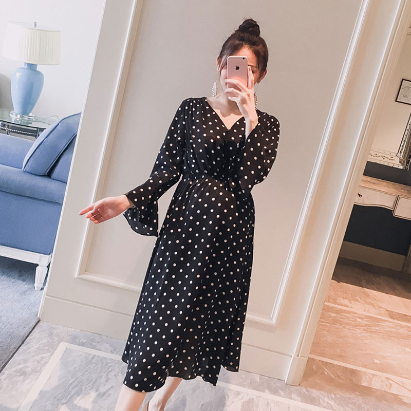 950# Black Polka Dot Printed Chiffon Maternity Dress 2019 Autumn Fashion Clothes For Pregnant Women OL Pregnancy Party Dress