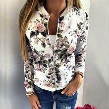 Spring Autumn Women Baseball Jacket Coat 2016 Fashion Floral Printed Zipper Casual Slim Bomber Outerwear femininas Hot Sale