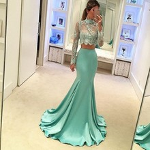 Elegant Long Sleeve Prom Dresses 2017 High Neck Two Piece Appliques Mermaid Sweep Train Party Gowns Custom Made vestidode festa