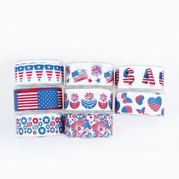 US $90 0 10% OFF|100Yards DHL free shipping USA Flag Ribbon 100% Polyester  Patriotic Trim Diagonal Stripe 4th of July Grosgrain Ribbon patriotic on