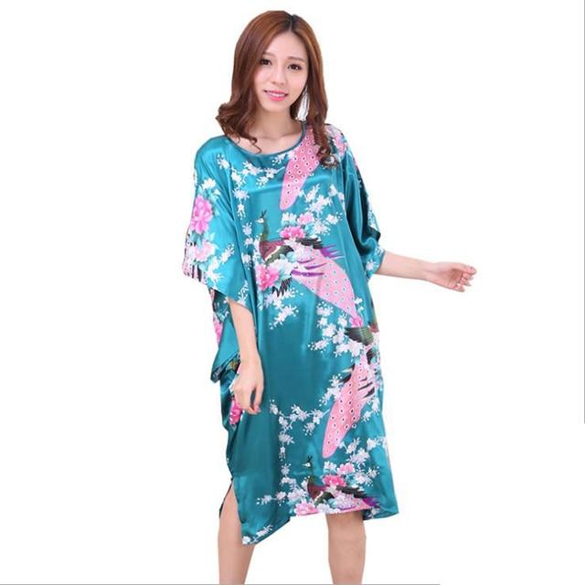 Classic Chinese Women s Silk Bathrobe Gown Nightgown Summer Casual Home  Dress Sleepwear Nightdress Lounge Homewear D126-02 8b820855b