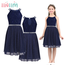 Childrens Flower Girls Dress Sleeveless Sequined Floral Lace Shiny Dress Vestidos First Communion Party Summer 2018 Dress
