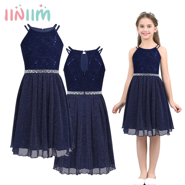 Children's Flower Girls Dress Sleeveless Sequined Floral Lace Shiny Dress Vestidos First Communion Party Summer 2018 Dress