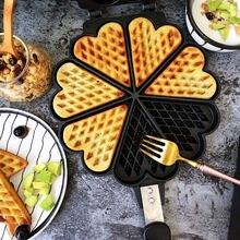 7 yuvası alüminyum alaşım kalp şekli yumurta Waffle demir kek Bakeware kalıp DIY bisküvi çerez tatlı fırın tepsisi Pot gaz