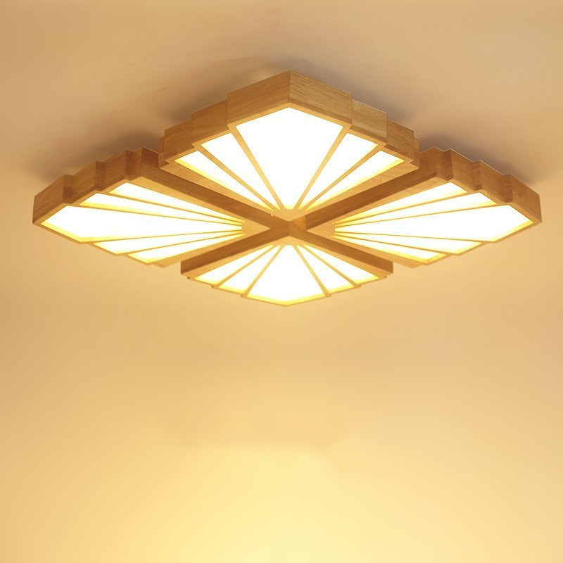 Lightings: Nordic Wooden LED Ceiling Lights Acrylic Modern Concise