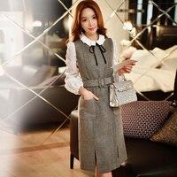 original wool dress 2016 women's new autumn winter temperament waist fashion vintage sleeveless vest primer dresses wholesale