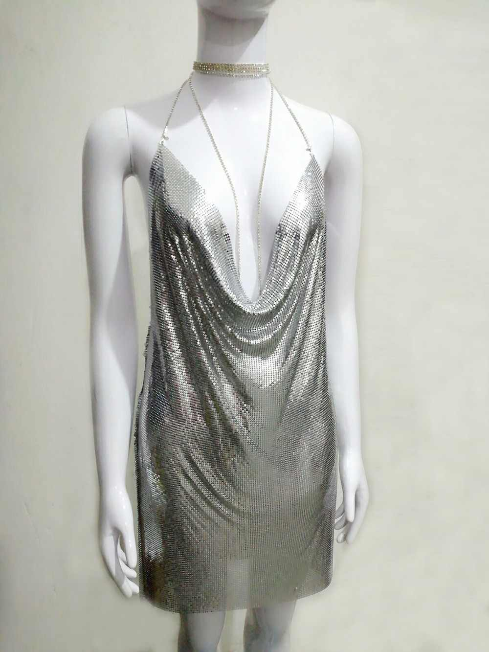 9e234ab8 ... Bonnie Forest Sexy Deep V Neck Gold Sequined Metallic Halter Backless  Party Dress Kendall Jenner's Nightclub