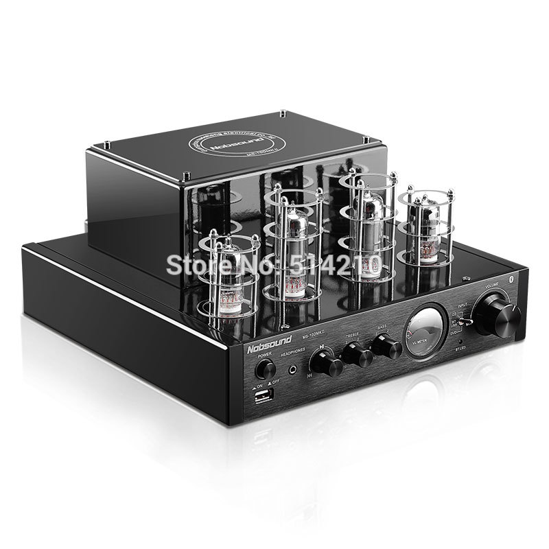 купить NEW black Nobsound MS-10D MKII Hifi 2.0 tube amplifier USB/Bluetooth amplifier Audio Amplifier 25W*2 TOP sale недорого
