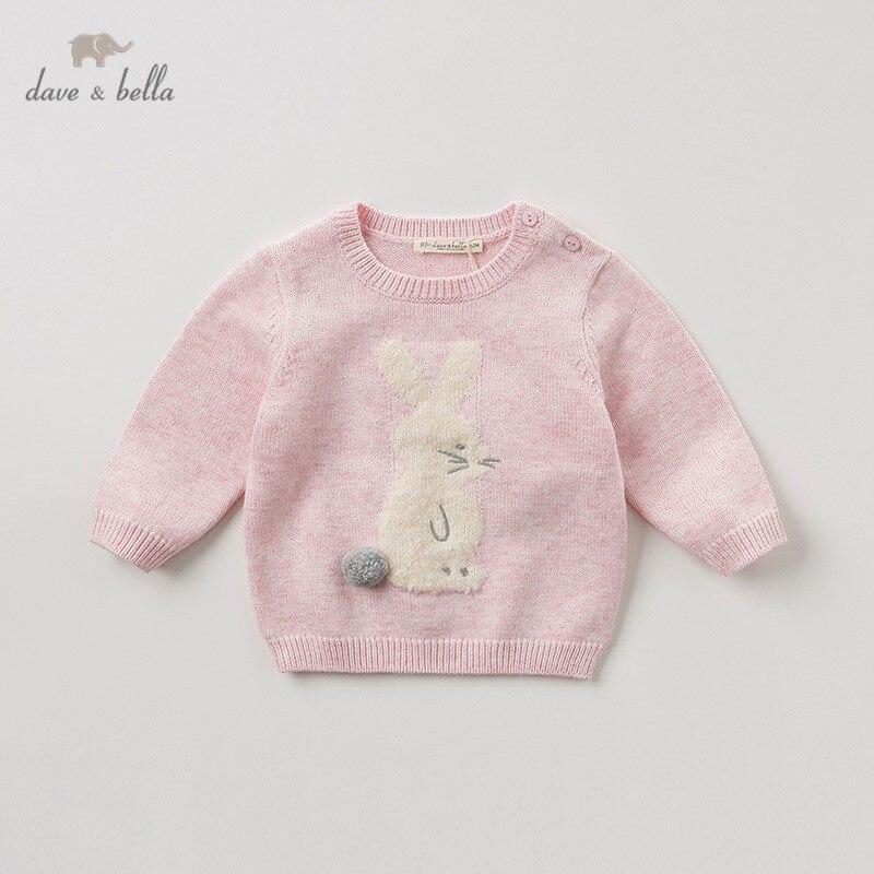 DBM10850 dave bella/осенний милый вязаный свитер с кроликом для маленьких девочек, детский Модный пуловер, эксклюзивные топы для детей|Свитера| | АлиЭкспресс