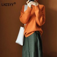 LHZSYY Winter New High Collar Cashmere Sweater High Quality Fashion Loose Women S Sweaters Solid Color
