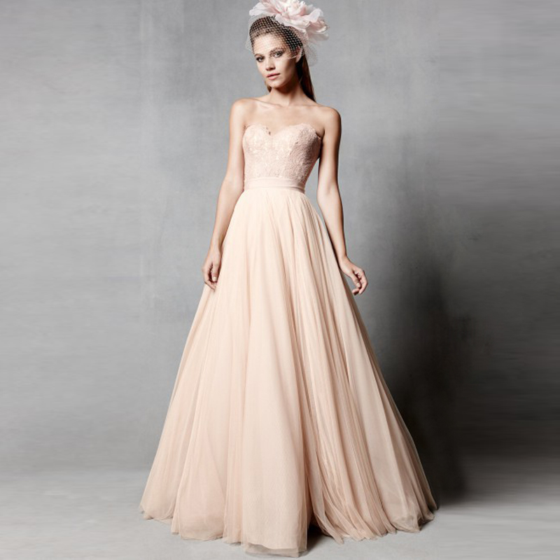 2016 New Fashion A Line Floor Length Sweetheart Neck Simple Tulle Skirt Blush Wedding Dress Peach Colored Dresses In From Weddings