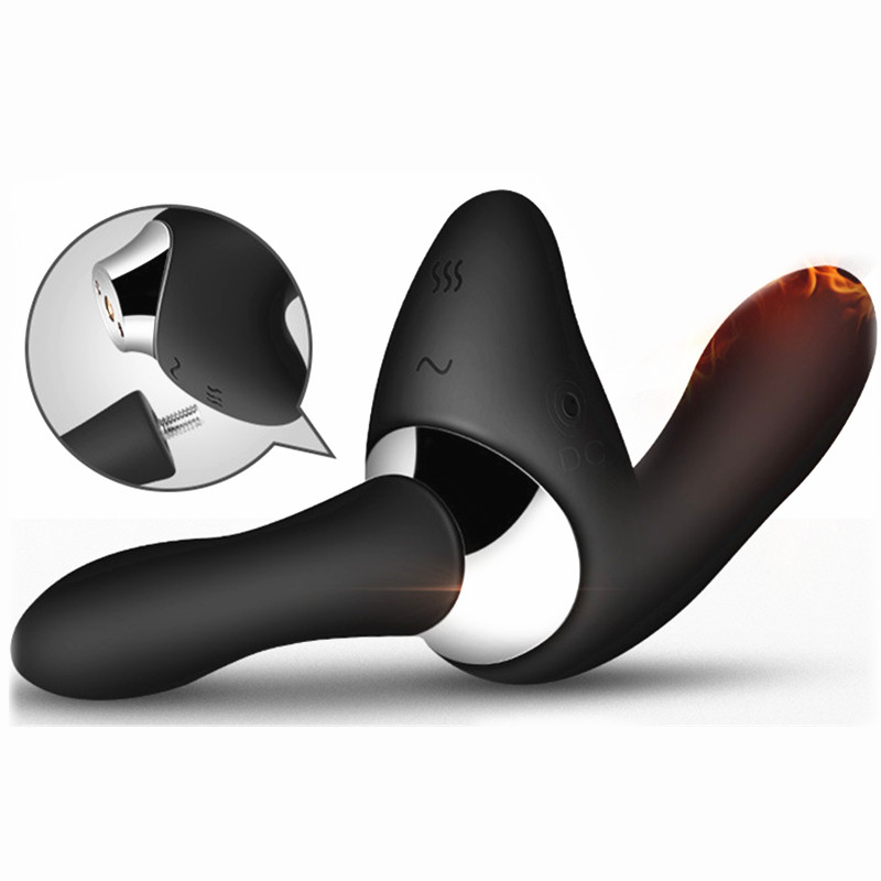 2018 New Handle Detachable Prostate Massage Gay Anal Butt Plug Heating Prostata Massager Vibrator for Male Sex Toy for Men A1-68 removable handle heating vibrating butt plug male prostata massage sex toys for men gay g spot anal plug usb prostate massager