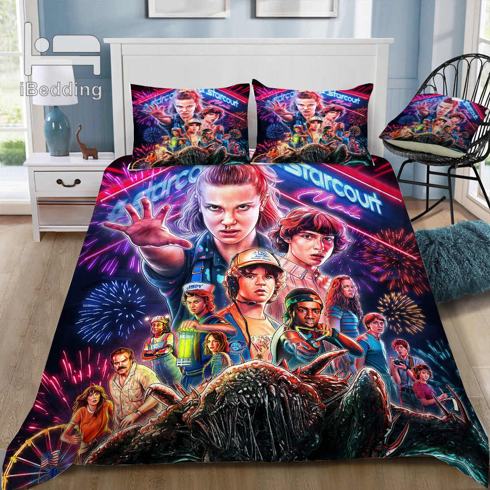 Hot  Horror Movie Stranger-Things 3D Bedding Set Printed Duvet Cover Set Twin Full Queen King Size Dropshipping