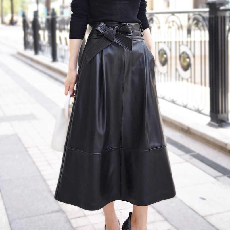 eb8d161fcde3 ... 2019 новые модные женские туфли юбки для женщин женские пояса из натуральной  кожи овчины Saia Falda ...