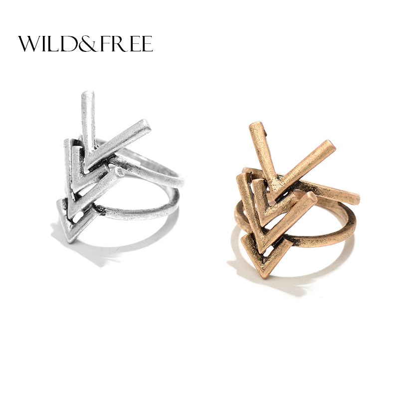 2017 New Hollow Arrow Rings For Fingers Antique Gold & Silver Color Wide Alloy Geometric Summer Beach Rings Jewelry for Women