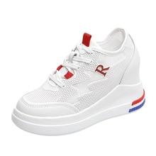 White Women Shoes 8.5CM Platform Sneakers Women Sneakers 2019 Summer New Hollow Mesh Lace Up Womens Shoes Woman Zapatos De Mujer