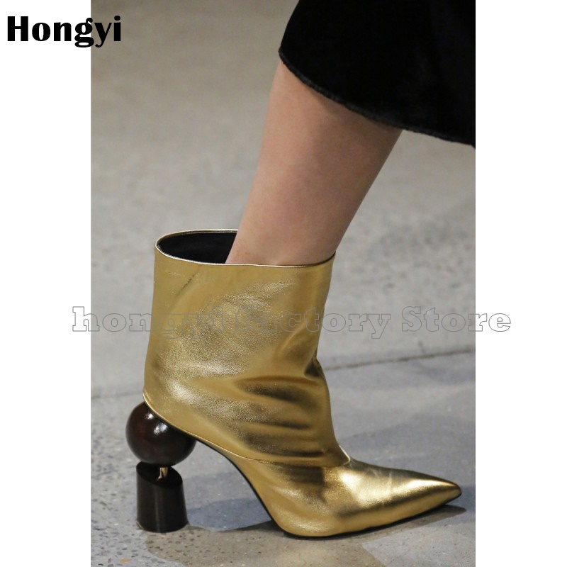 Fashion Gold Silvery Leather Abnormal Strange Heeled European Style Pointed Toe Ankle Boots Women Gladiator Short BootyFashion Gold Silvery Leather Abnormal Strange Heeled European Style Pointed Toe Ankle Boots Women Gladiator Short Booty