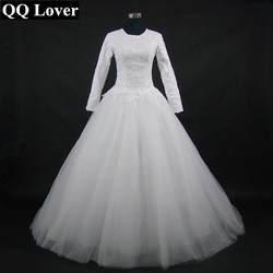 QQ Lover 2019 Новое поступление мусульманское с круглым вырезом с длинными рукавами кружевное свадебное платье на заказ большие размеры