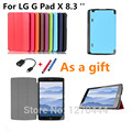 For LG GPad X Cover, Stand flip Custer PU Case Cover capa para For LG G Pad X 8.3 '' Tablets PC case +stylus +OTG as a gift