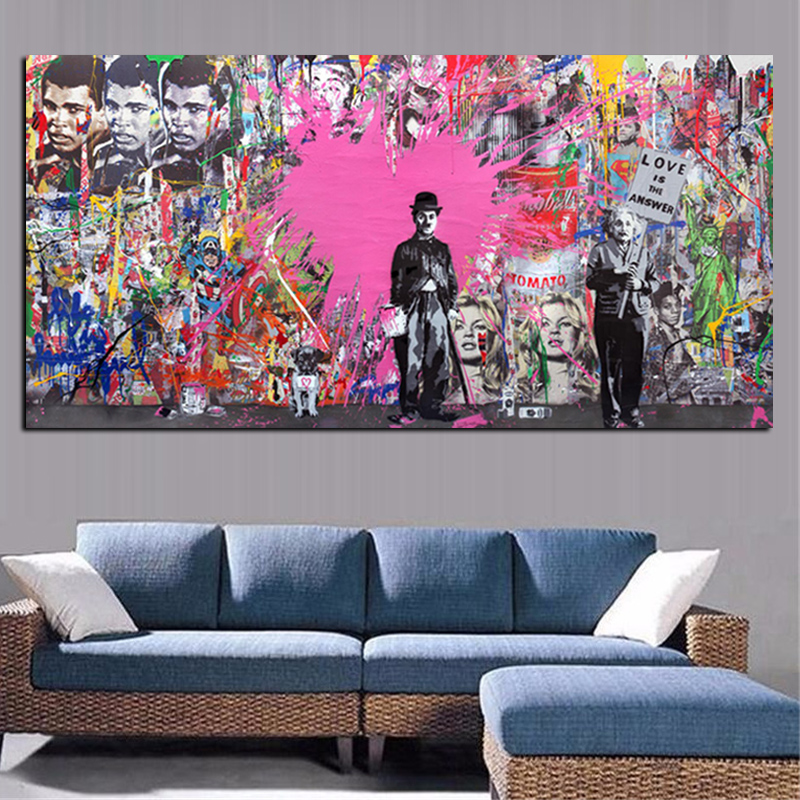 Buy banksy art graffiti prints charlie chaplin hd print for Canvas prints to buy