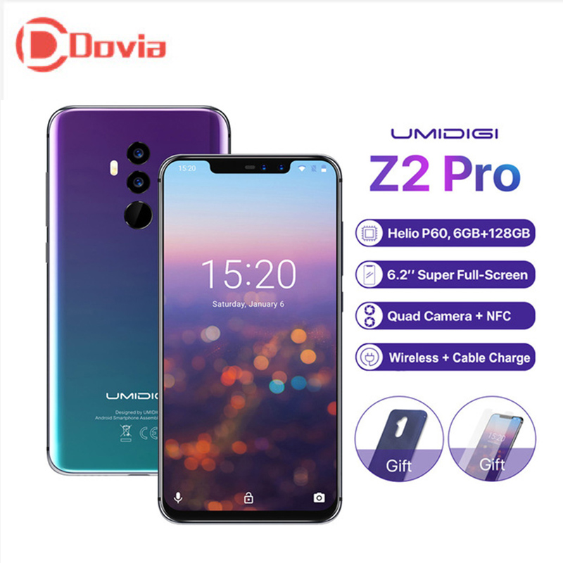 "UMIDIGI Z2 PRO 4G Smartphone Face ID 6.2"" Android 8.1 Helio P60 Octa Core 6GB+128GB 16.0MP+8.0MP Quad Cameras Mobile Phone"