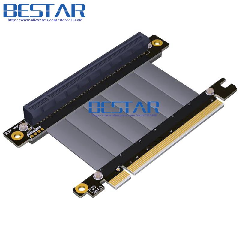 Elbow Design Gen3.0 PCI-E 16x To 16x 3.0 Riser Cable 5cm 10cm 20cm 30cm 40cm 50cm PCI-Express Pcie X16 Extender Right Angle