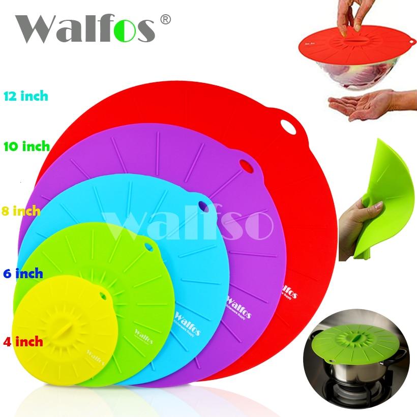 WALFOS 5-delig Universele Siliconen Zuig Deksel-kom Pan Kookpot Deksel-Siliconen Hoes Keuken Pan Spill Deksel Stopper Cover