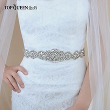 TOPQUEEN S161 Bridal Belts with Crystals Wedding Accessories for Women Dress Sash Belt of The Bride