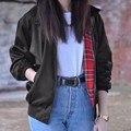 Fashion 2017 Autumn Women Casual Outerwear Long Sleeve Tartan Lined Zipper Pockets Bomber Jacket Coat Plus Size XS-4XL