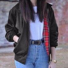 Fashion 2018 Autumn Women Casual Outerwear Long Sleeve Tartan Lined Zipper Pockets Bomber Jacket Coat Plus