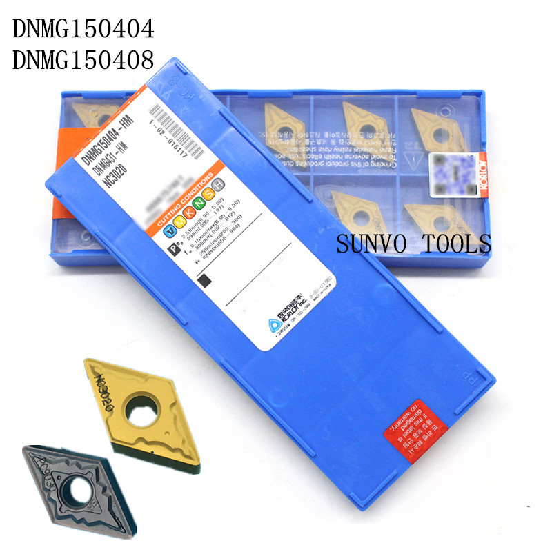 10PCS DNMG150404 DNMG150408 HM NC3020 PC9030 Brand New Korloy Original CNC Turning Inserts for Lathe Holder