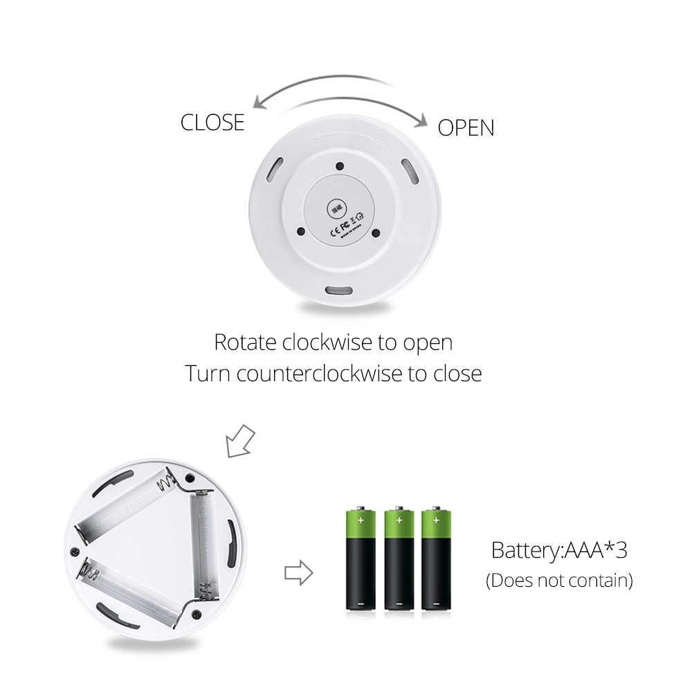 PIR Motion Sensor LED Night Light 3W 200 Lumen AAA Battery Powered Magnetic Cordless LED Cabinet Lamp Easy Install