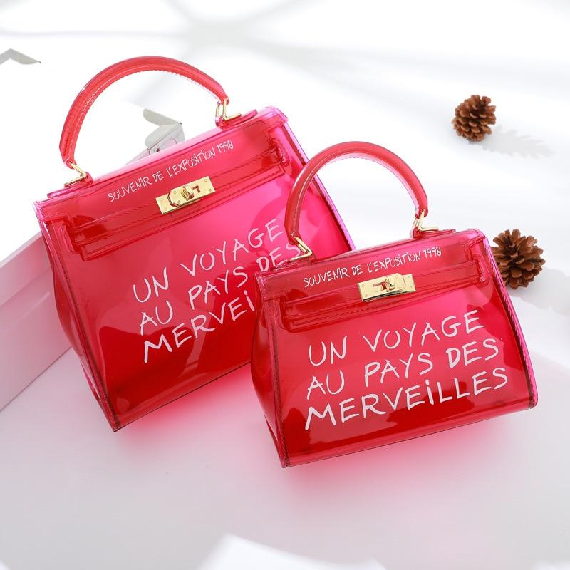 New Clear Transparent PVC Women Messenger Bag Luxury Handbags Female Bag Designer Jelly Purse Leather Handbag Sac A Main Femme