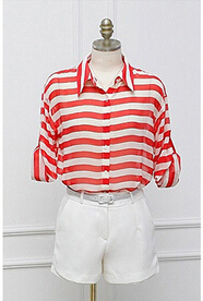 Vermelho listrado Mulheres Blusas Blusa Roupas Femininas Senhoras Blusa Chiffon Mulheres Manga Comprida Soltas Camisas Blusa Blusas Femininas
