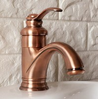 Antique Red Copper Brass Single Handle Lever Bathroom Single hole Deck Mounted Faucet Vessel Sink Basin Mixer Tap anf391