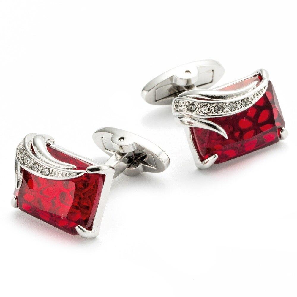 High Quality Men's Cufflink Silver Plating Red Zircon Men's Shirt Cuff Links Men Jewel 162