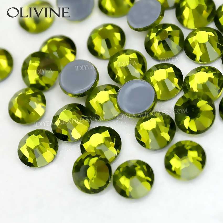 Olivin sıcak düzeltme flatback rhinestones elbise art glitters kristaller düzeltme strass taşlar giysi giysi köpüklü payetler