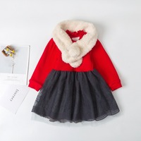 children's warm dresses thicken autumn winter baby knit dress elegant princess cute with a free fur scarf 6 9 12 24 36 months