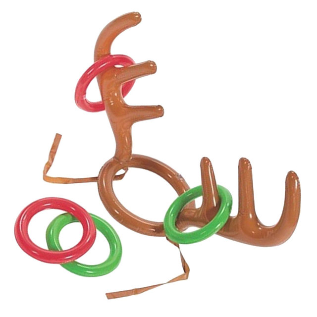 Christmas Inflatable Reindeer Antler Hat Ring Toss Holiday Party Supplies  Funny